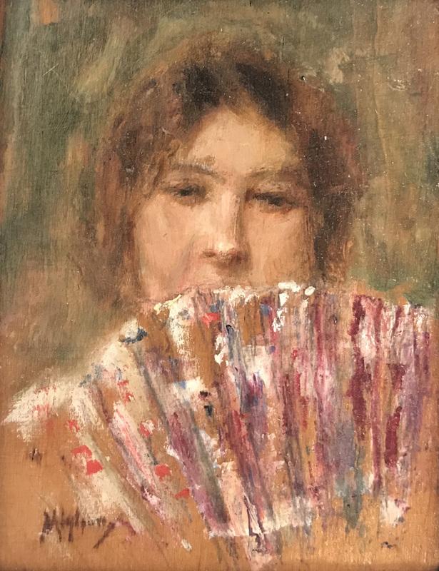 Vincenzo MIGLIARO - 绘画 - Ritratto con ventaglio