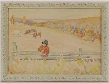 Boris Eremeievich VLADIRMIRSKY - Dibujo Acuarela - Shepherd Boy, Watercolor
