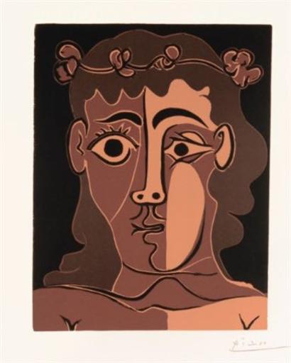 巴勃罗•毕加索 - 版画 - Jeune homme couronné de feuillage
