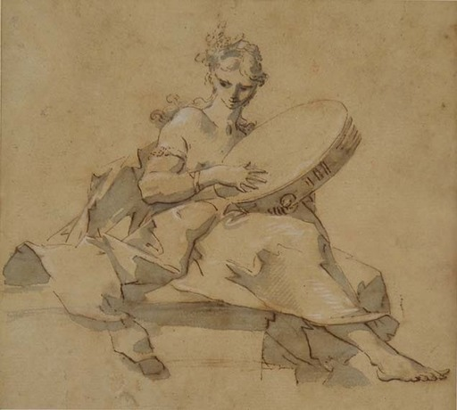 Sebastiano GALEOTTI - Dessin-Aquarelle - FEMALE FIGURE PLAYING A TAMBOURINE