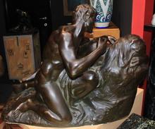 Jef LAMBEAUX - Sculpture-Volume - Femme au Satyre