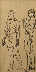 """Théophile Alexandre STEINLEN - Dibujo Acuarela - """"LES BOXEURS"""""""