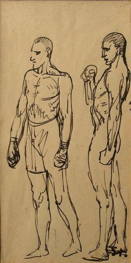 """Théophile Alexandre STEINLEN - Drawing-Watercolor - """"LES BOXEURS"""""""