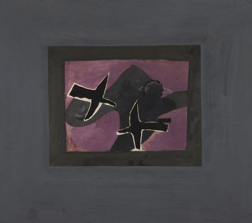 Georges BRAQUE - Zeichnung Aquarell - Les deux oiseaux noirs
