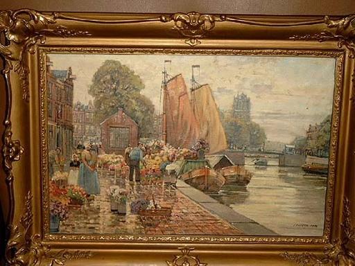 F. Max RICHTER-REICH - Pittura - Blumenmarkt in holländischer Stadt
