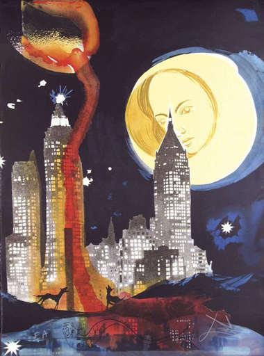 Salvador DALI - Estampe-Multiple - Manhattan Skyline