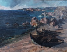 Rafael UBEDA PIÑEIRO - Pintura - Barcas en la playa