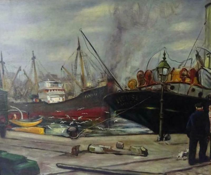 Jean MAILLARD - Pintura - Havenscène Antwerpen (Port d'Anvers)