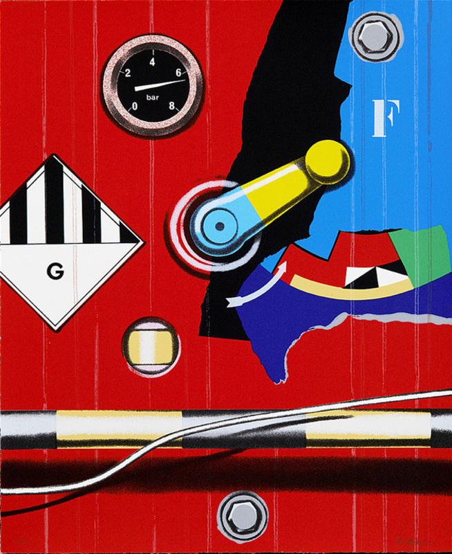 Peter KLASEN - 版画 - Manette/G/rond rouge