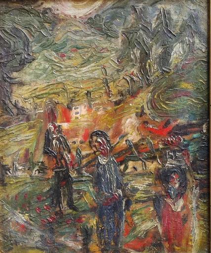 André CABANE - Peinture - paysan au matin