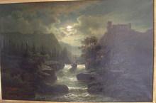 Hermann WERNER - Pintura - Romantische Flußlandschaft mit Ruine