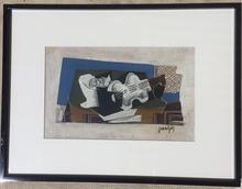 Juan GRIS - Peinture - NATURE MORTE AU COMPOTIER ET AU VIOLON
