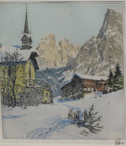 Hans FIGURA - Print-Multiple - Schneebedecktes Dorf i. d. Alpen