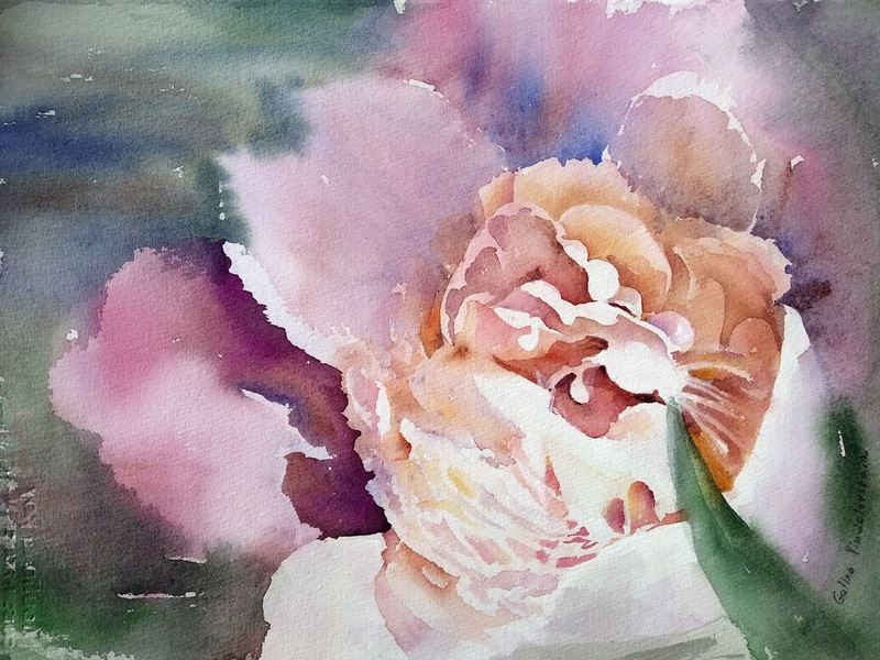 "Galina VINDALOVSKAIA - Drawing-Watercolor - ""Tender peony"" pink flower watercolor painting"