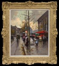 Édouard CORTES - Painting - Place de la Madeleine, Marché aux Fleurs