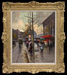 Édouard CORTES - Pittura - Place de la Madeleine, Marché aux Fleurs