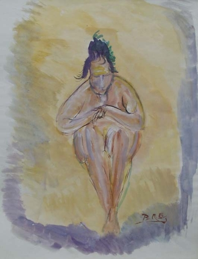 "Rudolf Raimund BALLABENE - Drawing-Watercolor - ""Study of a Woman"" by Rudolf Raimund Ballabene, ca 1930"