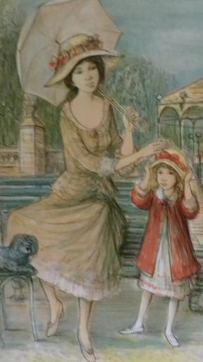 Jacques LALANDE - 版画 - Mére et fille.