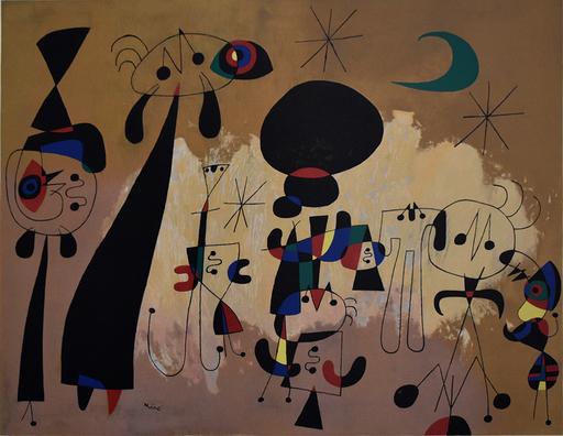 胡安·米罗 - 版画 - Women, Moon and Star   Femmes, lune et étoile