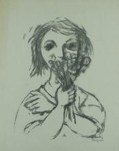 Frank KLEINHOLZ - Radierung Multiple - Woman Holding a Bouquet