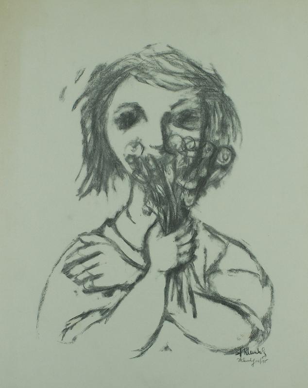 Frank KLEINHOLZ - Druckgrafik-Multiple - Woman Holding a Bouquet