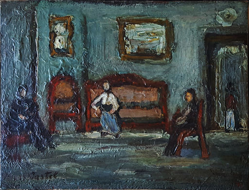 Moshé Elazar CASTEL - Painting - Figuers in Sefat