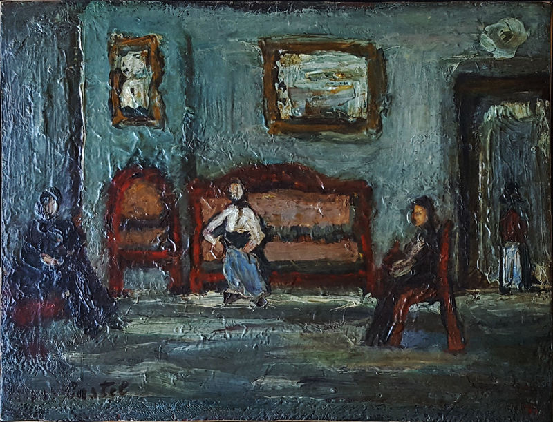 Moshé Elazar CASTEL - Peinture - Figuers in Sefat