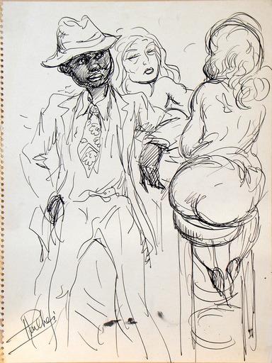 Fred PAILHES - Dibujo Acuarela - 'Au cabaret sur le port'