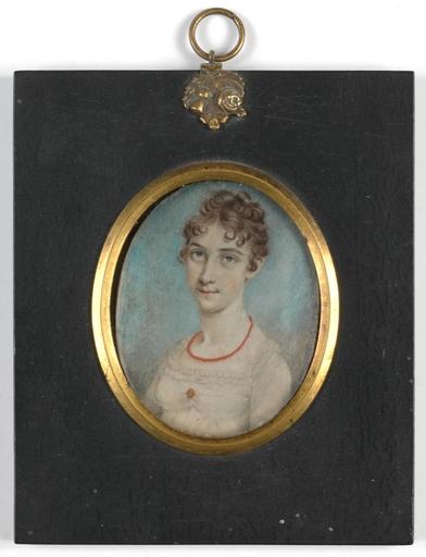 "Zeichnung Aquarell - ""Portrait of a Russian Lady"" miniature, ca. 1810"