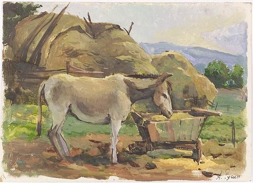 """Arkadi RUSIN - Gemälde - """"Donkey"""", ca 1950, Oil"""