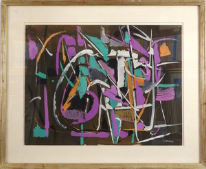 André LANSKOY - Dibujo Acuarela - Untitled Abstract