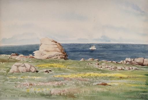 Alfred KELLER - Dibujo Acuarela - L'Ile Vierge - Finistère - (KP19)