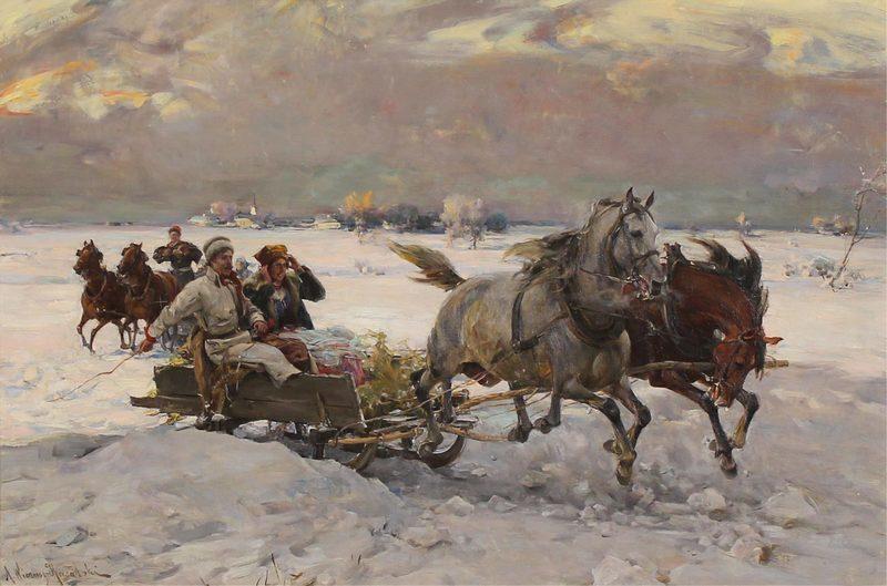 Alfred VON WIERUSZ-KOWALSKI - Peinture - A Sleigh Ride