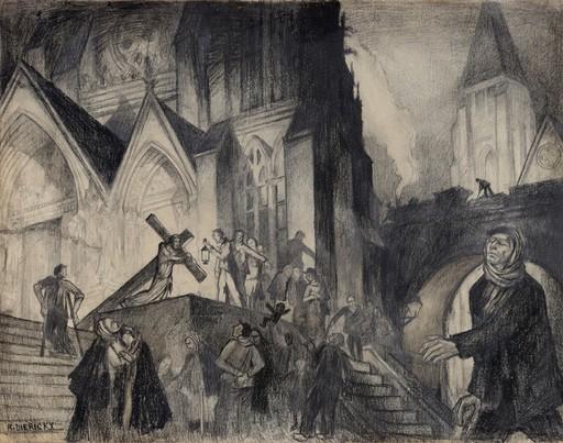 "Raymond DIERICKX - Drawing-Watercolor - ""CHEMIND DE CROIX A L'AVEUGLE"""