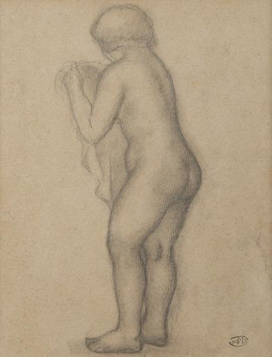 Aristide MAILLOL - Dibujo Acuarela - Une femme nue debout de trois-quarts dos tenant un voile