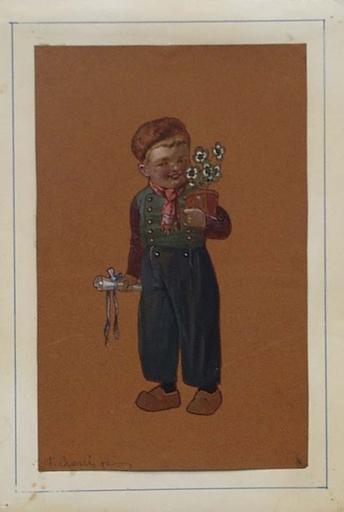 """Fritz GAREIS - Dessin-Aquarelle - """"Congratulation"""" by Fritz Gareis, Watercolor, ca 1920"""