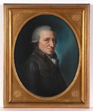 "Johann Heinrich SCHRÖDER - Drawing-Watercolor - ""Portrait of an elderly gentleman"" pastel, ca.1790"