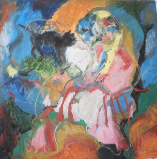 Bernard MOREL - Painting - PEINTRE ET MODELE et chat