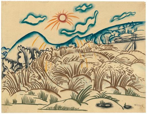 Walter OPHEY - Drawing-Watercolor - Durch eine bergige Landschaft fahrender Zug bei Sonnenschein