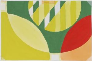 Bruno MUNARI - Disegno Acquarello - Progetto grafico per tessuto per la X Triennale di Milano