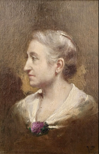 Charles Victor THIRION - Painting - Lady profile portrait