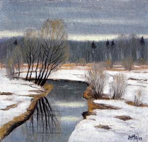 Valeriy NESTEROV - Pintura - Banka river. Pavshino Moscow district