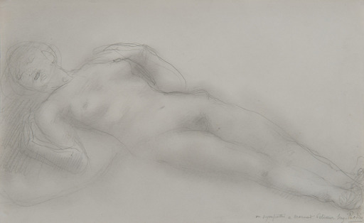 Auguste RODIN - Drawing-Watercolor - Femme nue allongée