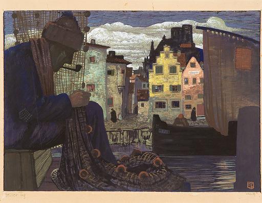 Erwin STOLZ - Zeichnung Aquarell - Stiller Tag, 1939