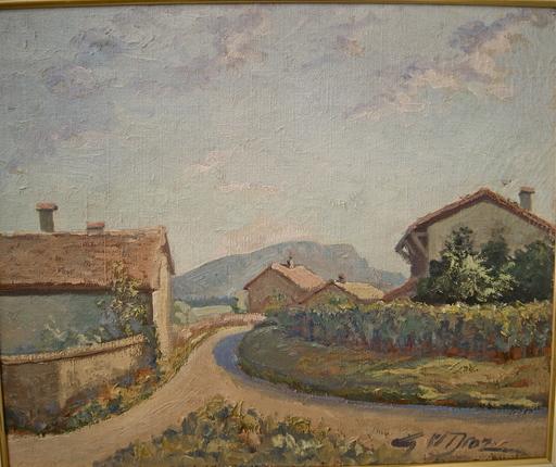Georges W. DROZ - Pintura - Maisons de la campagne Genevoise, vu sur le Salève.