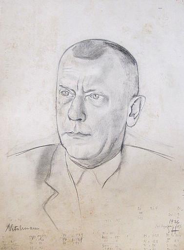 Erich HARTMANN - Disegno Acquarello - Nitschmann (Porträt)