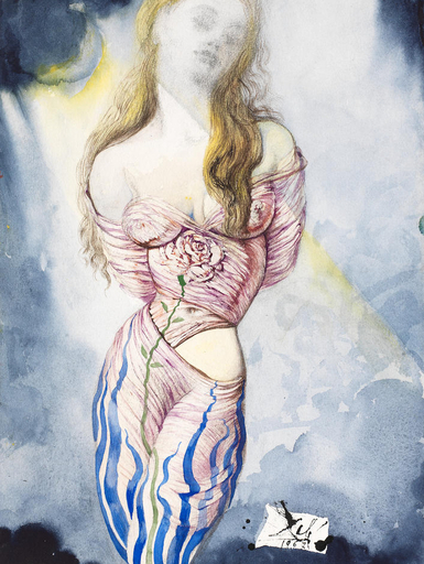 Salvador DALI - Drawing-Watercolor - Femme à la rose