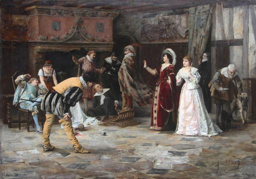 Armand Eugene BACH - Pintura - Les Comédiens au château de la misère,  (Capitaine Fracasse,