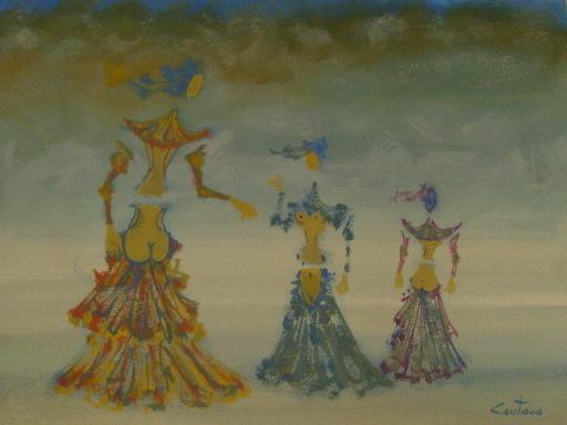 Lucien COUTAUD - Disegno Acquarello - 3 femmes sur la plage,1974