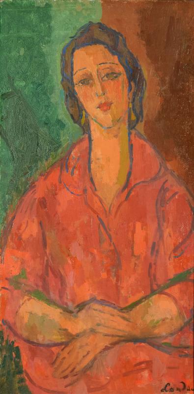 Sigmund LANDAU - Painting - Femme Robe Rouge